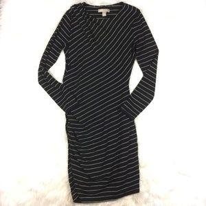 Banana Republic Black White Striped Ruched Dress